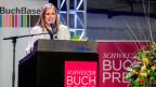 Monique Schwitter, Gewinnerin des Schweizer Buchpreises 2015 bedankt sich