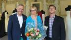 Dani Fohrler posiert mit seinen Gästen Gaby Ferndriger und Richard Knecht.