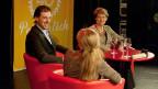 Fabian Cancellara und Simonetta Sommaruga sitzen mit Anita Richner in einer Gesprächsrunde auf der Bühne.