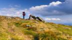 Eine grün bewachsene Hochebene mit kleinen Felsen. Auf der Krete wandert ein Einzelner mit rot-blauem Rucksack