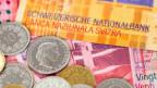 Schweizer Franken in Noten und Münzen.
