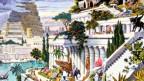 Gemälder einer begrünten Stadt am Hang.