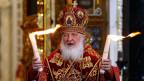 Kyrill I. Patriarch von Moskau an der Osterfeier