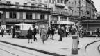 Der Paradeplatz in Zürich um 1960.