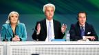 Le Pen, Wilders und Strache an einer Pressekonferenz.