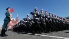 Symbolbild: Aufnahme der Militärparade auf dem Roten Platz am 8. Mai.