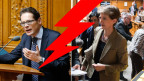 Nationalrat Köppel warf Justizministerin Sommaruga eine «frivole Leichtfertigkeit» mit der Verfassung vor. Sie verliess gefolgt von ihrer Fraktion den Saal.