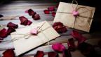 Zwei Briefumschläge auf Rosen