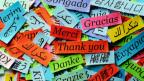 """Zettel mit Aufschrift """"Danke"""" in verschiedenen Sprachen"""
