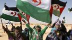 """Empfang für UNO-Generalsekretär Ban Ki-Moon in den Flüchtlingslagern in der Nähe der algerischen Garnisonsstadt Tindouf. Weil Ban Ki-Moon nach dem Besuch von """"besetzten Gebieten"""" sprach, kam es zu schweren Spannungen zwischen der UNO und Marokko."""