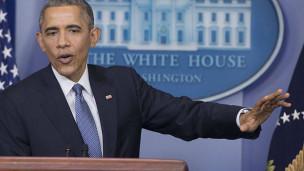 Audio US-Präsident Obama beschuldigt Nordkorea abspielen.