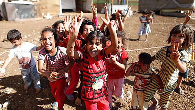 Syrische Flüchtlingskinder in Bekaa, Libanon.