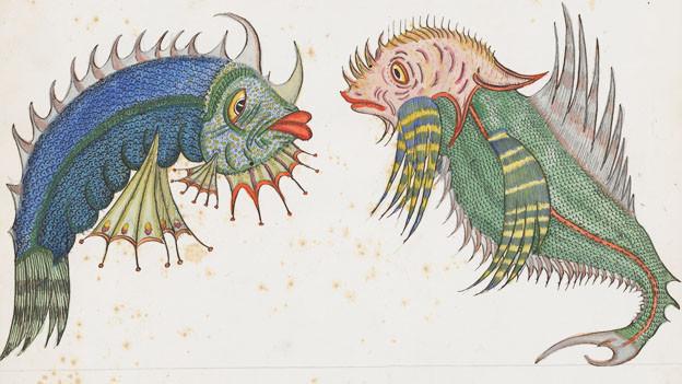 Zwei phantasievoll gezeichnete Fische, die sich anschauen.