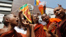 Protestierende Mnche in Sri Lanka.