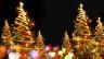 Geschmückte Weihnachtsbäume in einem Lichtermeer.